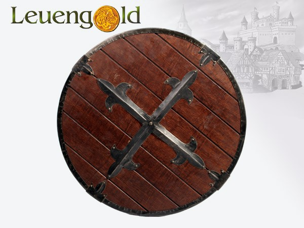 Rundschild aus Holz mit Eisenbeschlägen
